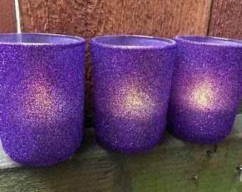 Glitter votive holders in Amethyst