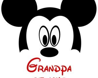 Custom Mickey Grandpa of the Birthday Boy or Girl  Iron on Transfer Decal (not digital download) Matching Disney Family Shirts