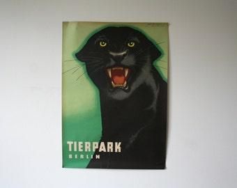 Reserved- Original BERLIN Zoo vintage Advertising Poster 1963 - Panther design P116