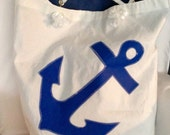 Large Blue Anchor Tote