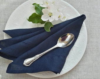 LINEN Napkins - DARK BLUE napkins - linen Napkin Set of 6, Table napkin, table linen, wedding napkins, dinner napkins, cloth napkins