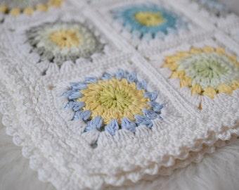 Crocheted Blanket, Cotton Blanket, Blue, White, Yellow, Green Blanket, Shower Gift, Photo Prop