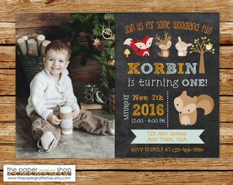 Woodland Invitation | Woodland Creatures Blue & Orange Invitation with photo | Woodland Creatures Birthday Party | Forest Friends Invitation