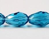 "Blue Crystal Teardrop Beads 11x8mm Aqua Blue Crystal Beads, Faceted Glass Drop Beads, Chinese Crystal Beads on a 6 3/4"" Strand with 15 Beads"