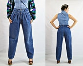 VTG- 80s/90s, Vintage, High-Waist, Pleated, 1980s/1990s, Mom-Jeans, Waist Yoke, Medium Weight, Blue Jeans, 1940s Inspired - Size S Small