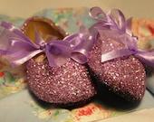 Flower Girl Shoes~Ballet Flats~Lavender~Glitter Shoes~Ribbon~Bridal Shoes~Bridesmaid Shoes