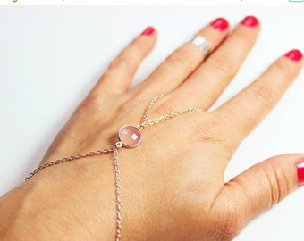 Valentines Day Gift Sale Sterling Silver Slave Bracelet with Pink Chalcedony Accent - Pink Stone Silver Hand Chain - Gemstone Slave bracelet