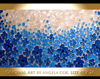 Original  Abstract Contemporary Blue Aqua Mocha  Blossom Tree   Impasto Palette Knife  Painting. 48 x 24..