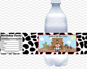 Cowboy  - Personalized water bottle labels - Set of 5  Waterproof labels