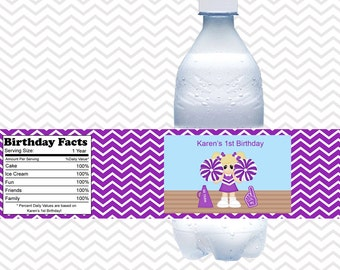 Cheerleading - Personalized water bottle labels - Set of 5  Waterproof labels