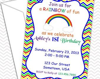 Rainbow Invitations PRINTABLE - Birthday Party - Baby Shower