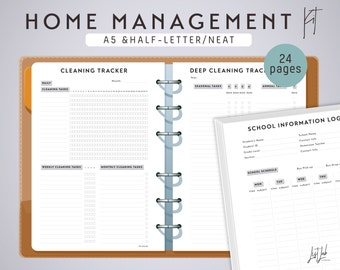 A5 HOME MANAGEMENT Kit - Printable Planner Inserts - Neat Theme - 24+ sheets - fits Filofax A5, Kikki K Large