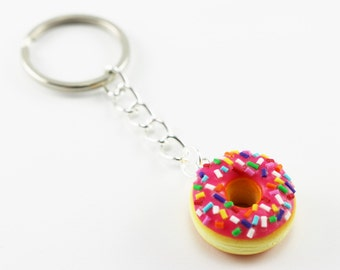Pink Frosting Donut Key Chain with Multi Color Sprinkles - Food Key Chain, Kawaii Key Chain, Polymer Clay Key Chain
