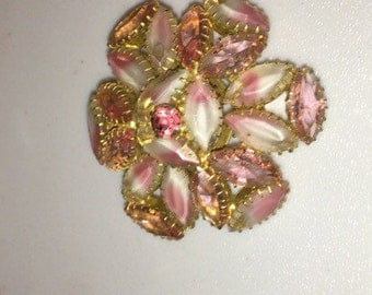 Vintage jewelry Julianna frosted pink rhinestone brooch