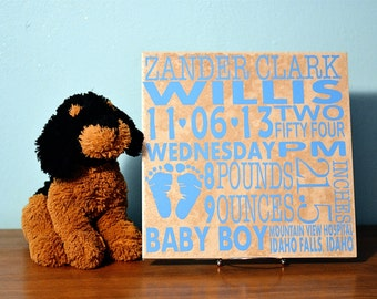 Custom Baby Announcement Vinyl Decal {Fits 12x12}