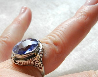 Blue Sapphire Ring Art Deco Sapphire Engagement Ring 14K White Art Deco 1920s Ring Blue Lab Sapphire Engagement Ring September Birthstone