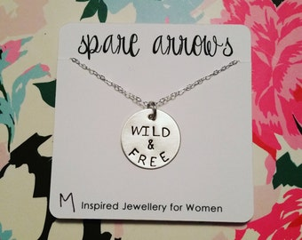 Wild & Free (3/4 inch Hand Stamped Sterling Silver) Necklace