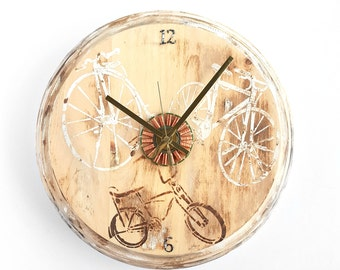 Odds and Ends Wooden Cyclist Wall Clock with Gold Hands