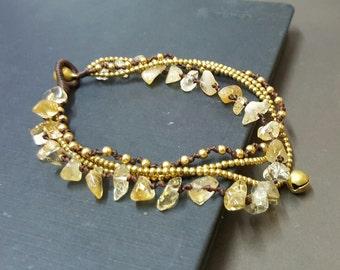 Chip Citrine  Brass Chain Anklet