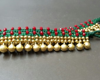 Jingling Belly Dark Green  Red Crystle  Brass Anklet