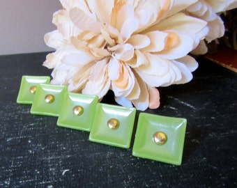 Vintage Square Green Shank Buttons With Gold Metal Center FIVE  5  Pale Green Pearlescent