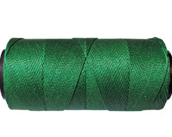 Macrame Cord 0.8mm - 15 meters/ 16 yards - Waxed Polyester Cord - Knotting Cord - Green