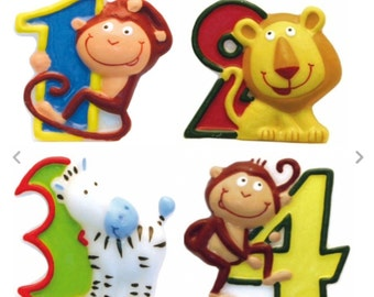 jungle numbered candles, reduced number 1, number 3, number 4, monkey, zebra, safari themed birthday cake, children's birthday candles