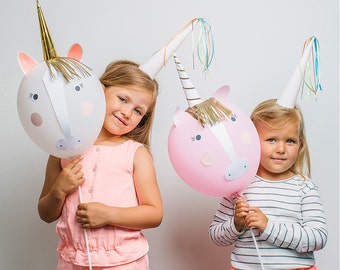 Unicorns and Rainbows Create Your Own Balloon Kit Kids Children's Birthday Party Balloons Decorations Unicorn Theme Birthday Party Favours