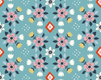 Flower Bed Blue ~ Birch 100% Organic Cotton KNIT