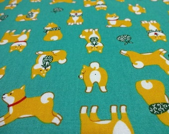 Japanese Fabric Kawaii Dog Shibaken Green Fat Quarter