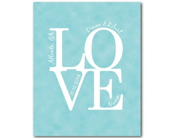 Customized Personalized Wedding Anniversary Gift - Love Print - Typography Word Art - Wall Decor - Personalized Wedding Anniversary Gift-
