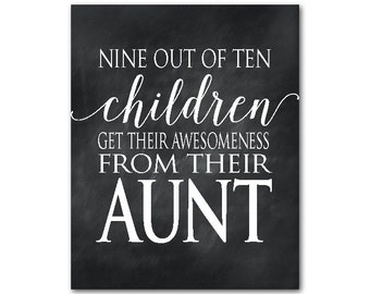 Nine out of ten children get their awesomeness from their aunt - aunt appreciation gift - personalized print - love - family love word art