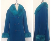 ON SALE 1960s Vintage Women's Electric Blue Winter Jacket Faux Fur Trim Size M