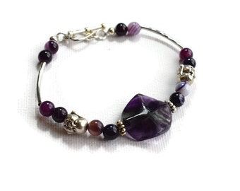 Buddha Bracelet, Yoga Gift,  Agate Bracelet, Spiritual Gifts,  Buddha Bracelet, Purple Bracelet, Fluorite Bracelet, Buddha Jewellery