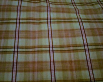 Cotton/poly blend - pink, tan, black plaid fabric