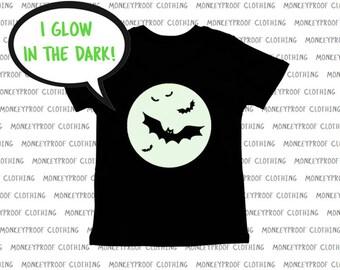 Glow In The Dark, Flying Bats, Full Moon, Halloween Tee Shirt, Shirt for Boys, Shirt for Girls