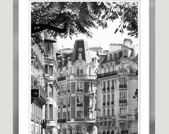 Paris black and white photography, large wall art paris print, city prints, architectural art, Black white Paris photo, 12x16 print, 16x20