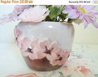 ON SALE Vintage Ceramic Pink Dogwood Flower Vase Pink,  Shabby Chic, Cottage Chic