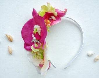 Pink Ivory Orchids Bridal Headband, Weddings Hair Accessories, Bridal Orchids Hair Piece, Mermaid Headband, Beach Hawaiian Wedding, Prom