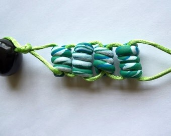 Stress Relief Keychain- Handmade Polymer Clay Beads: Kelly Green, Glittery White, Blue, Lime Green Cord