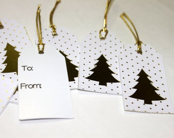 White and Gold Foil Christmas Tree Gift Tags- Set of 8