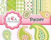 Digital paper, cliparts paisley png  Spring,,paper pack rétro,stripe,chevron instant download