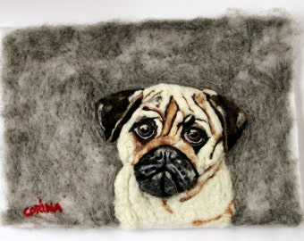 Pug Love - Irish Original Needle Felted Puppy Dog Painting CORINA HOGAN OOAK 3D
