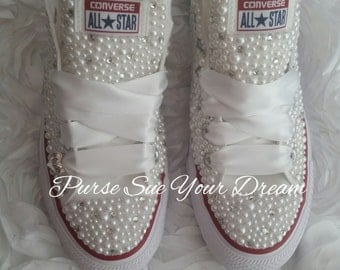 Bridal Pearl and Crystal Rhinestone Custom Converse Wedding Shoes - Custom Shoes - Bride Shoes - Pearl Wedding Shoes - Wedding Converse