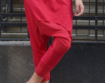 NEW Collection Loose Casual  Red Drop Crotch Linen Knit Harem Pants / Extravagant Red Pants by AAKASHA_A05167