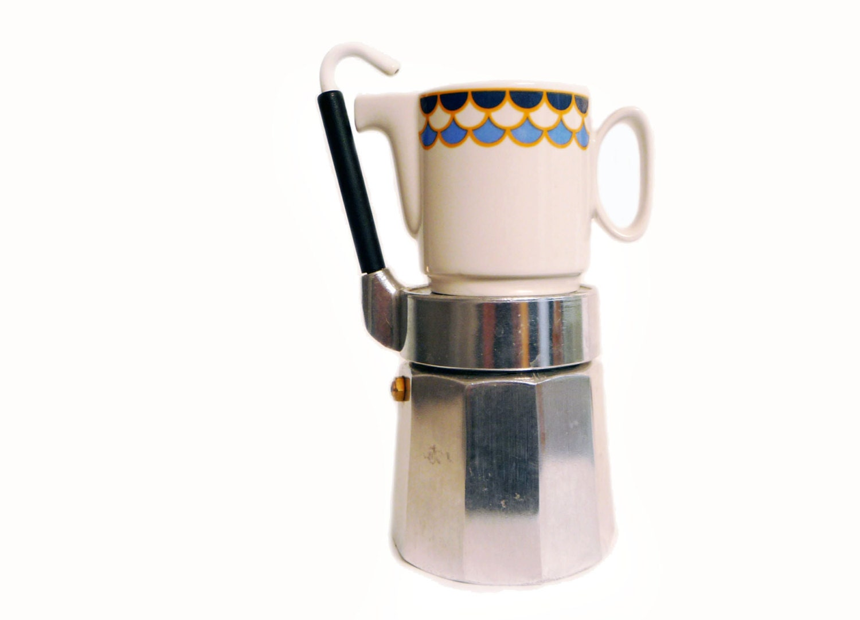 Italian Coffee Maker Aluminum : Vintage italian aluminum coffee maker OMG 4 cups