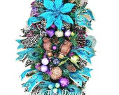 Christmas Swag, Peacock Swag, Owl Wreath, Christmas Wreath, Peacock Feathers,  Peacock Wreath, Vertical Swag, Holiday Wreaths, Xmas Wreaths