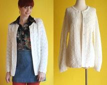 Vintage 60s Winter White Cardigan - Button Down Open Knit Scalloped Knit Sweater - Wintuk Mod Sweater - Womens Jumper - Size Medium