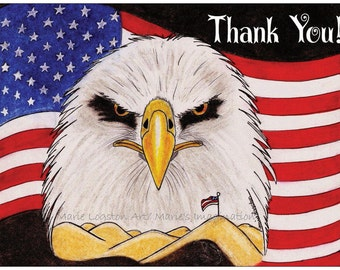 Eagle/ American Flag / Military Thank You Cards - Greeting Cards - Note Cards with White Envelopes.