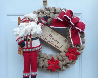 Christmas burlap wreath, Santa wreath, Country wreath, Rustic burlap Christmas decor, Door decor, Holiday burlap decor, Welcome wreath, RTS